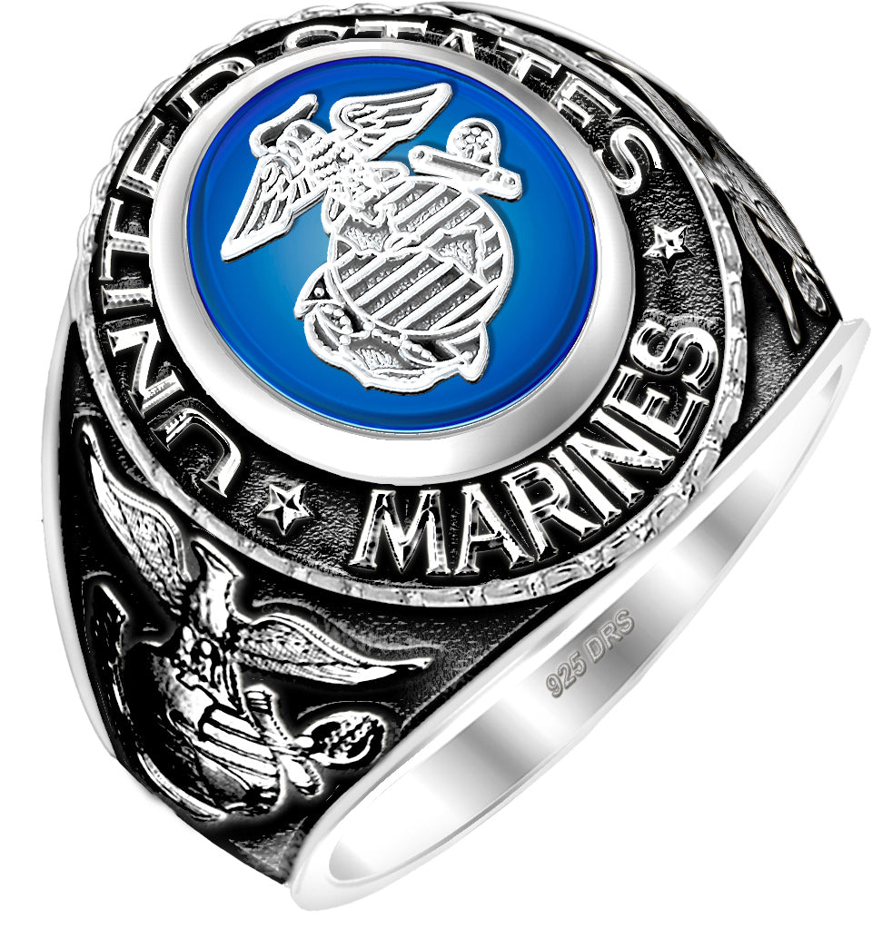 USMC Ring - Blue Stoned Antiqued US Marine Ring Silver