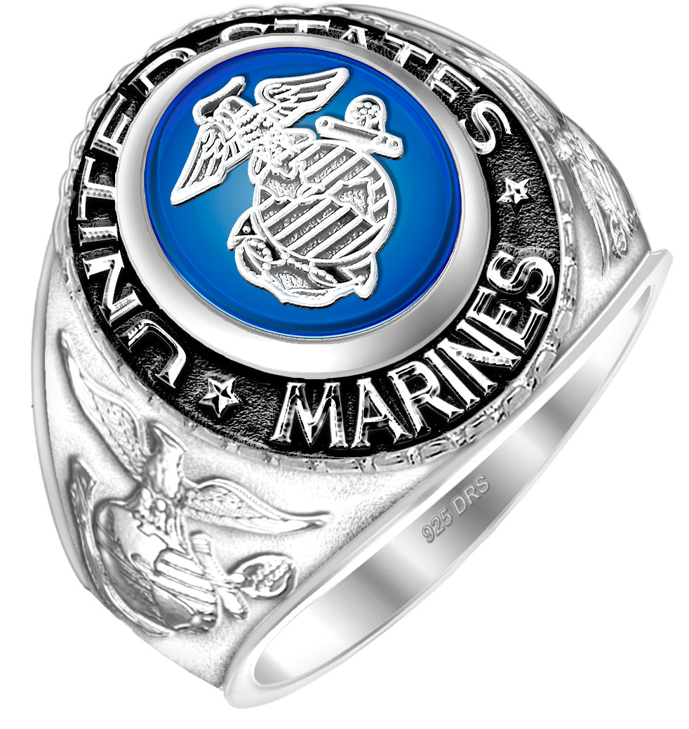 US Marine Corps Ring - USMC Sterling Silver with blue stone