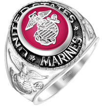 US Marine Corps Ring - USMC Sterling Silver with red stone