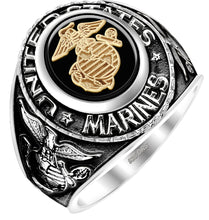 USMC Military Ring - Antiqued US Marine Ring 0.925 Silver