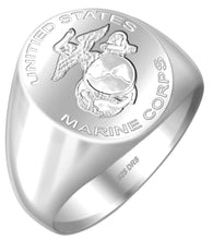 USMC Military Signet Ring in Silver For Men
