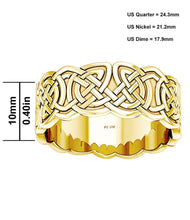 10mm x 0.4mm Gold Irish Celtic Love Knot Wedding Band