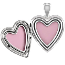 Heart Necklace Of Silver With 2 Photo For Ladies - Inside