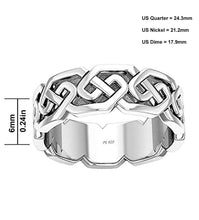 6mm Sterling Silver Modern Irish Celtic Knot Band