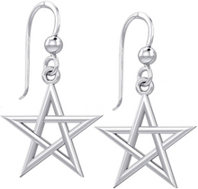 Gold Earrings With 5 Pointed Star Symbol - White Gold