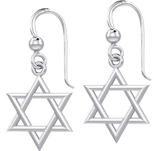 Gold Earrings With Star Of David - White Gold