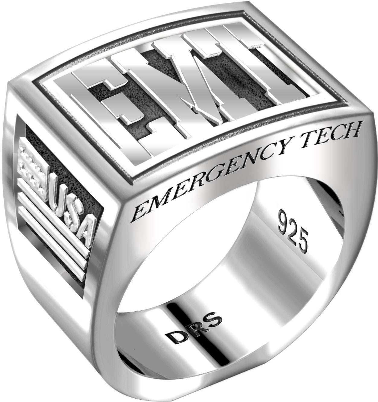 Men's Heavy 0.925 Sterling Silver EMT Ring Band