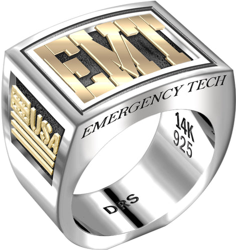 Men's Heavy Two Tone 0.925 Sterling Silver and 14k Yellow Gold EMT Ring Band