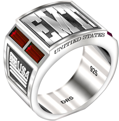 Men's 0.925 Sterling Silver Simulated Ruby EMT Medical Ring