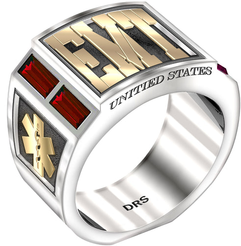 Men's Two Tone 0.925 Sterling Silver and 14k Yellow Gold Simulated Ruby EMT Medical Ring