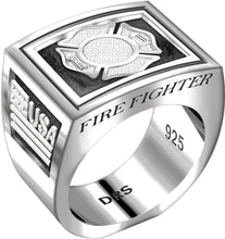 Men's Heavy 0.925 Sterling Silver Firefighter Ring