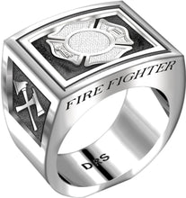 Men's Heavy 0.925 Sterling Silver Firefighter Ring Band