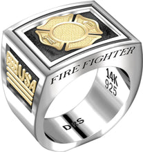 Men's Heavy Sterling Silver and 14k Yellow Gold Ring