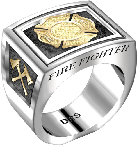 Men's Heavy Two Tone 0.925 Sterling Silver and 14k Yellow Gold Fire Fighter Ring Band