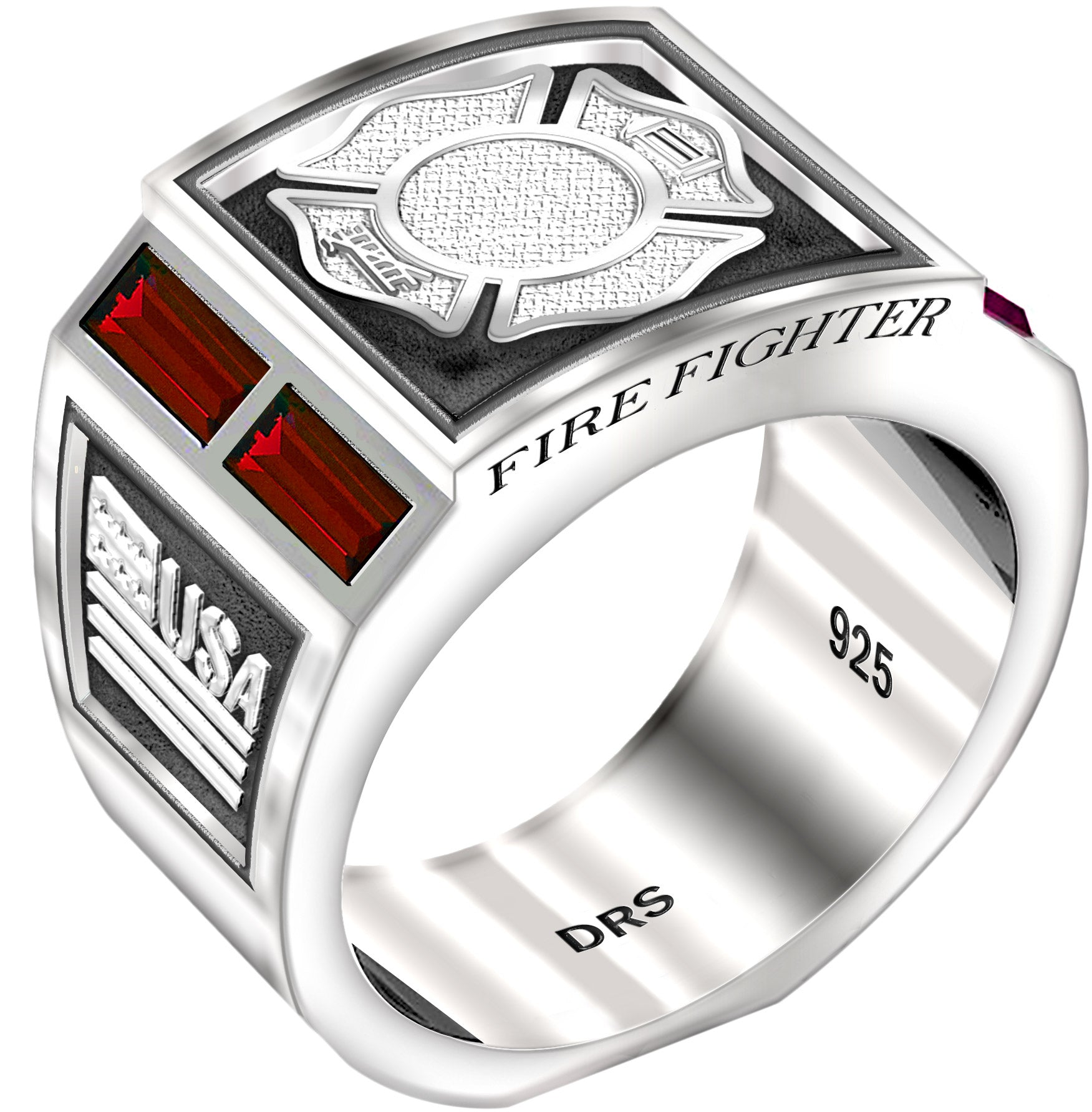 Sterling Silver Ring - Fire Fighter Ring With Ruby