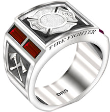 Sterling Silver Ring - Fire Fighter Ring For Men