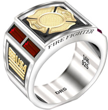 Gold Ruby Ring - Fire Fighter Ring Men's Two Tone