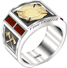 Gold Ruby Ring - Fire Fighter Ring