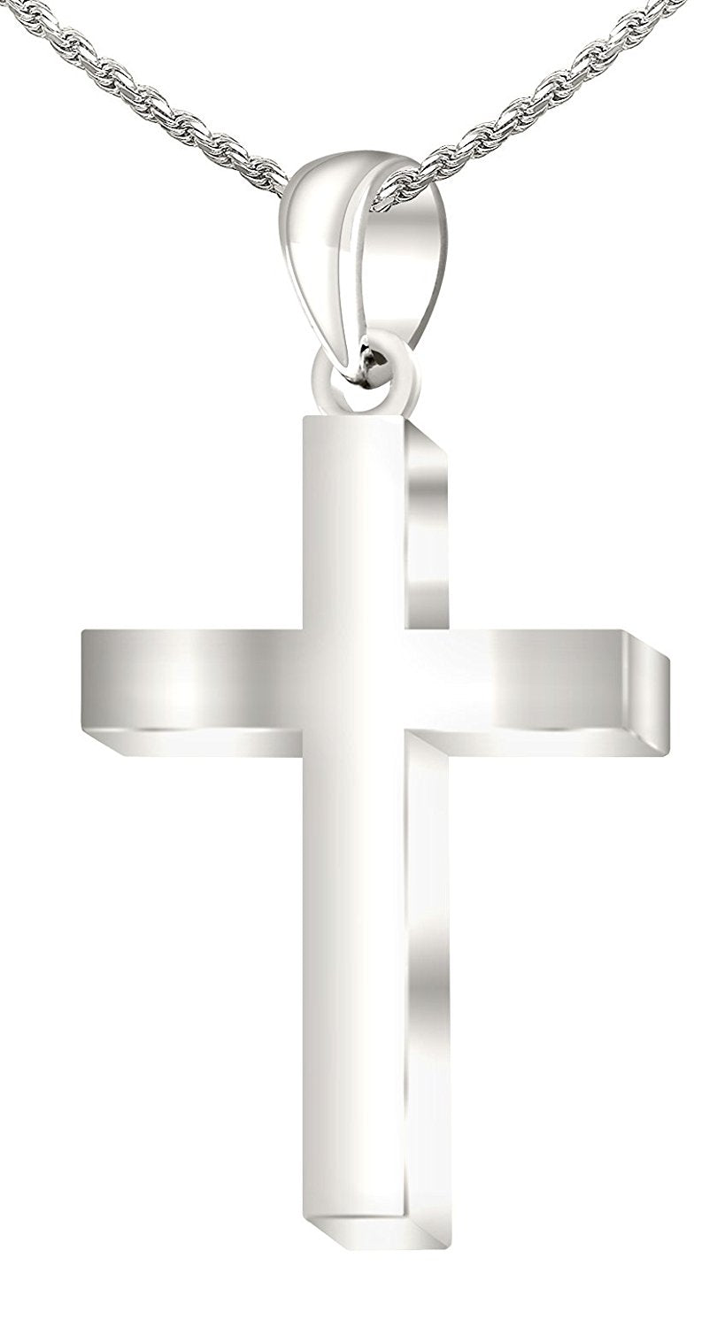 Christian Necklace - Cross Pendant Of White Gold In New