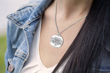 Gemini Necklace Of Silver In Round - Worn By Woman