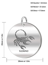 Scorpio Necklace Of Silver In Round - Size Details