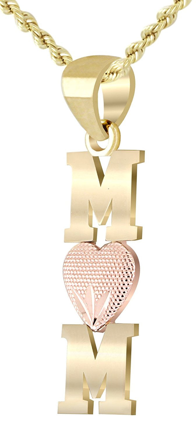3/4in 14k Yellow and Rose Gold Polished Mom with Heart Pendant Necklace - US Jewels