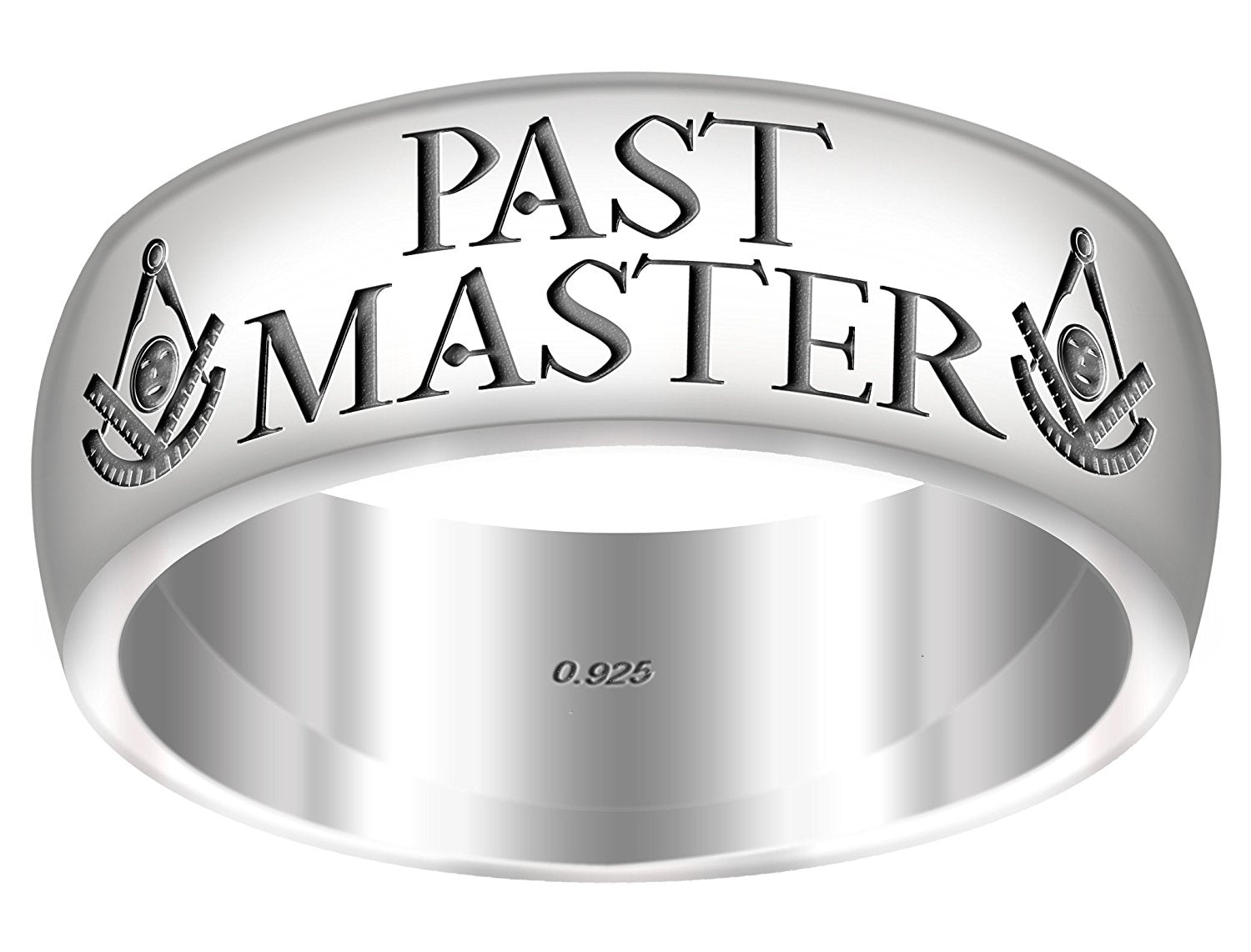 Past Master Ring Freemason 0.925 Sterling Silver 8mm