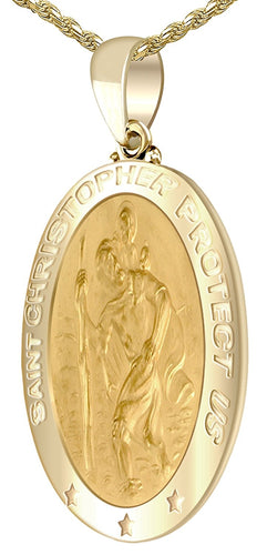 St Christopher Necklace - Gold Pendant In Brand New
