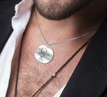 Scorpio Necklace Of Silver In Round - Worn By Man