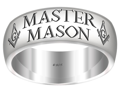 Master Mason Ring Freemason 0.925 Sterling Silver 8mm