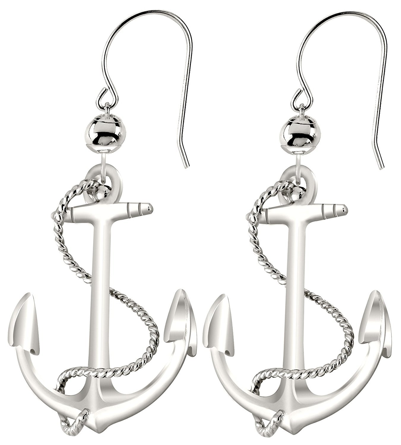 Dangle Earrings - Anchor Earrings In Sterling Silver