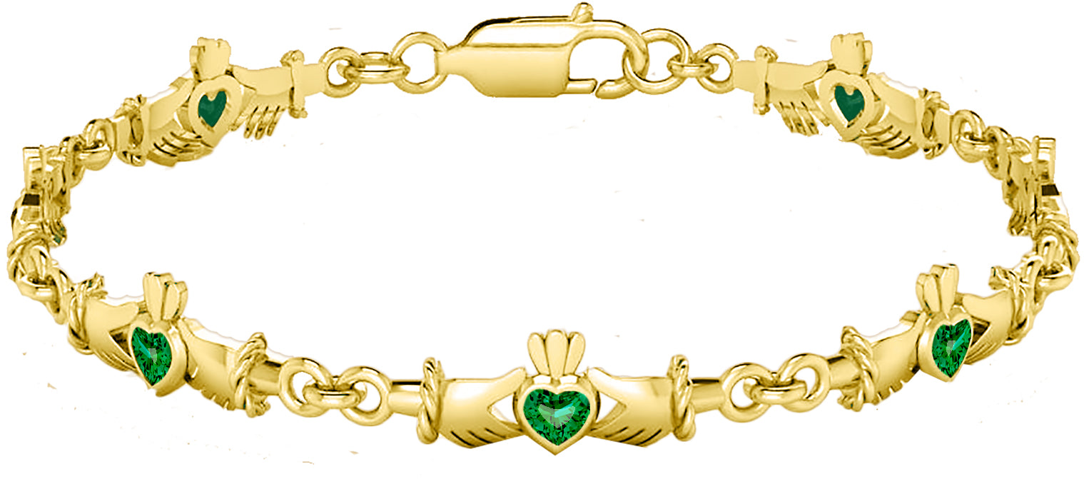 Link Bracelet With Gemstone - Yellow Gold