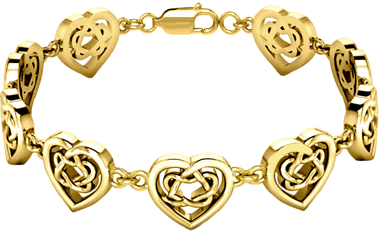 Love Bracelet With Irish Celtic Heart - Gold