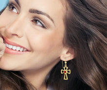 Cross Earrings With Birthstone In Gold - Worn On Ear