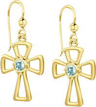 Cross Earrings With Birthstone In Gold - Aquamarine