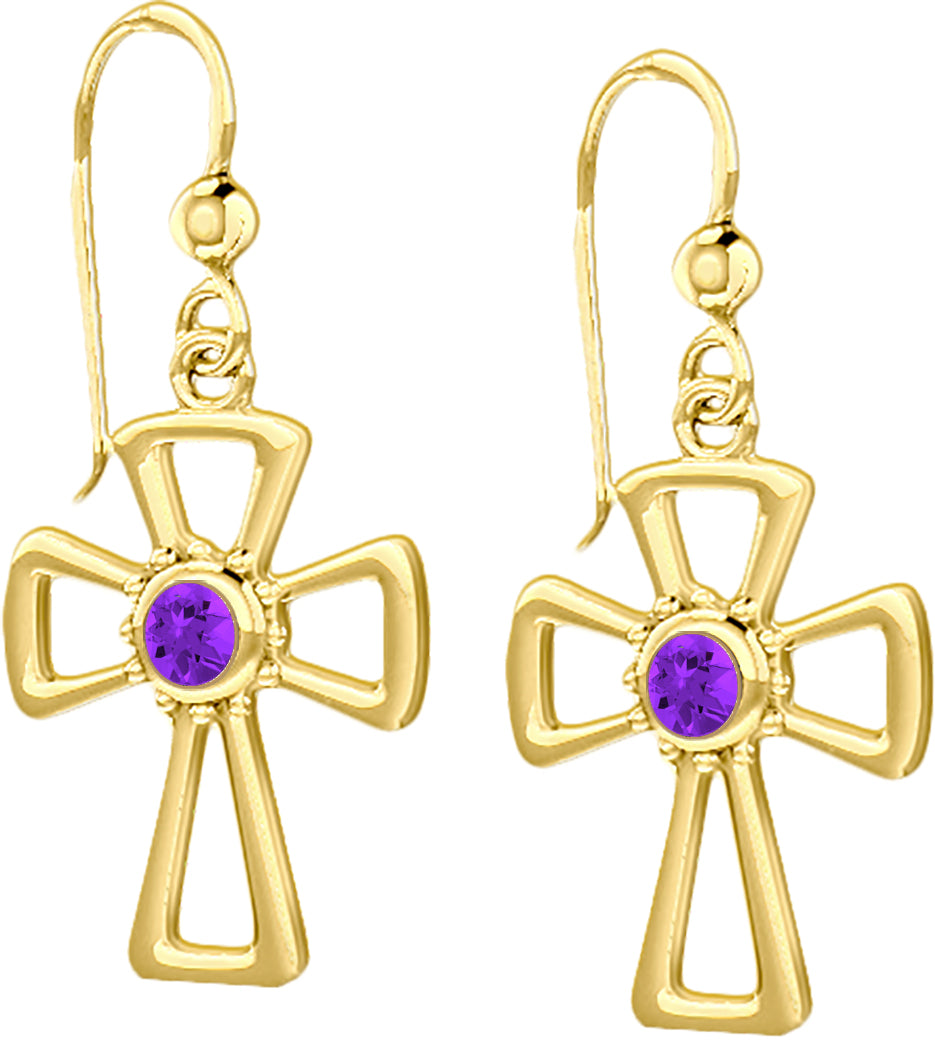 Cross Earrings With Birthstone In Gold - Amethyst