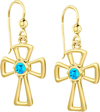 Cross Earrings With Birthstone In Gold - Blue Topaz