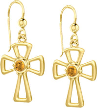 Cross Earrings With Birthstone In Gold - Citrine