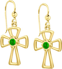 Cross Earrings With Birthstone In Gold - Emerald