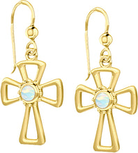 Cross Earrings With Birthstone In Gold - Opal