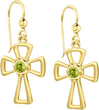Cross Earrings With Birthstone In Gold - Peridot