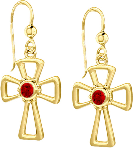 Cross Earrings With Birthstone In Gold - Ruby