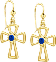 Cross Earrings With Birthstone In Gold - Sapphire