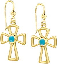 Cross Earrings With Birthstone In Gold - Turquiose