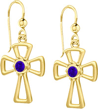 Cross Earrings With Birthstone In Gold - Tanzanite
