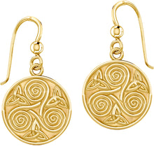 Dangle Earrings Gold Triskele Triple Spiral & Trinity Knot