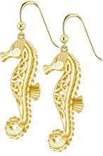 Knot Earrings - Seahorse Earrings In 14K Yellow Gold