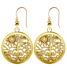 Dangle Earrings Tree of Life 10k or 14k Yellow Gold