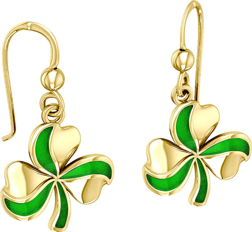 10k or 14k Yellow or White Gold Lucky Shamrock Clover Earrings with Enamel - US Jewels