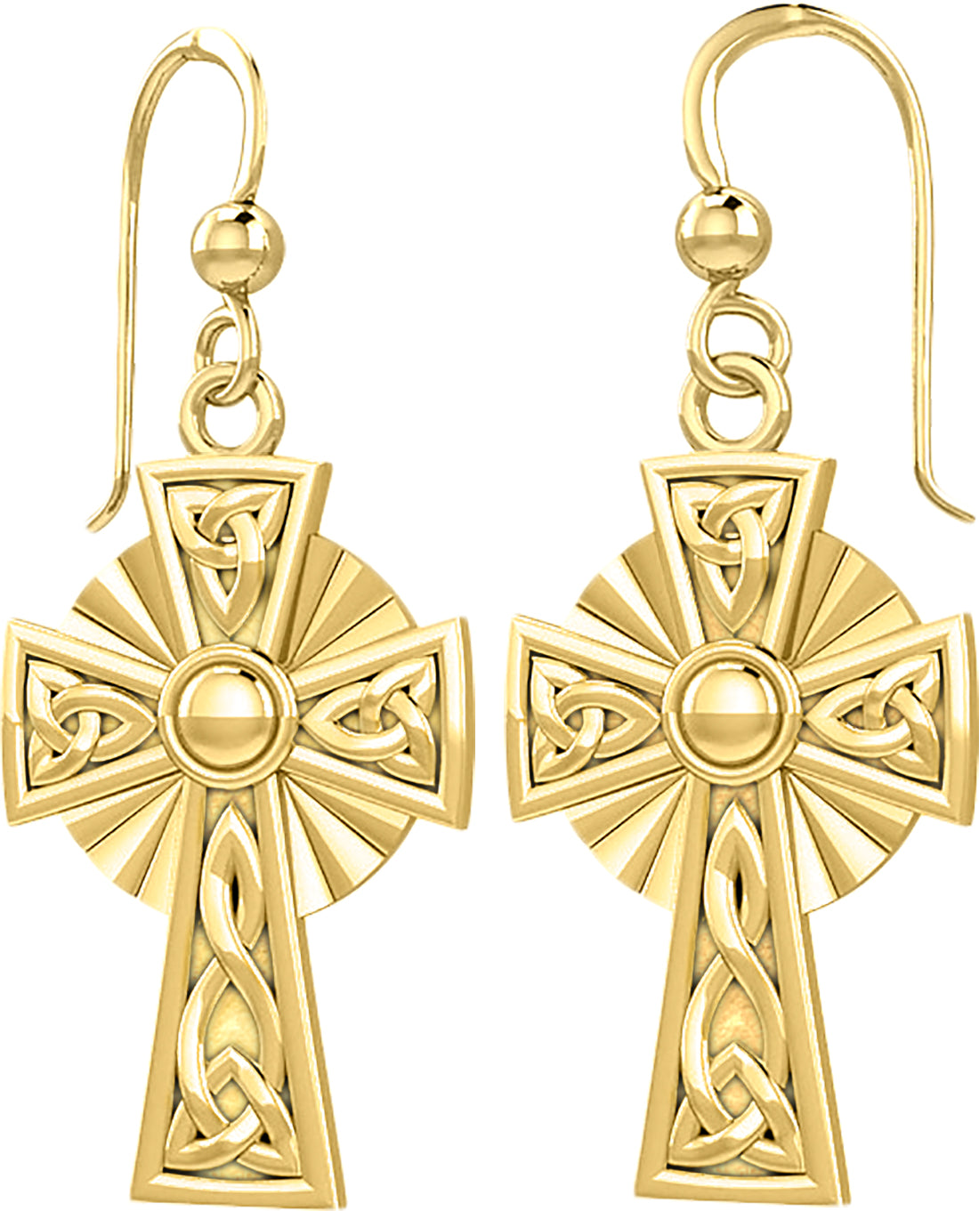 14k Yellow Gold Irish Celtic Knot Cross Earrings - US Jewels